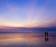 Silhouette Of Couple At Sunset Royalty Free Stock Image