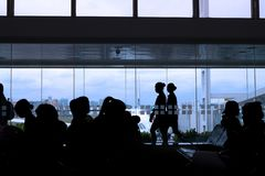 Silhouette Of Crew And Passengers Royalty Free Stock Image