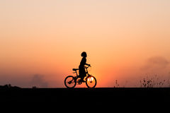 Free Silhouette Of Cyclist Motion On Sunset Background Royalty Free Stock Photography - 66604237