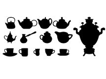 Silhouette Of Drinks. Cafe Icons. Stock Photos