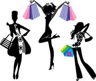 Free Silhouette Of Fashion Girl With Bags Royalty Free Stock Photo - 41506535