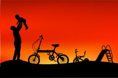Free Silhouette Of Father Have Fun With His Children, Slide, Tricycle And Folding Bike At Park When Sunset Or Sunrise Stock Photos - 113932813