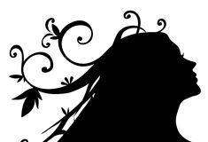 Silhouette Of Female Face And Vines Pattern Royalty Free Stock Image