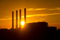 Free Silhouette Of Gas Turbine Electrical Power Plant Royalty Free Stock Images - 24460969
