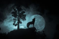 Silhouette Of Howling Wolf Against Dark Toned Foggy Background And Full Moon Or Wolf In Silhouette Howling To The Full Moon. Hallo Royalty Free Stock Photos