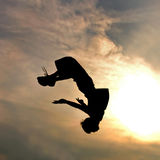 Silhouette Of Jumping Man Stock Photos