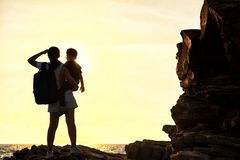 Free Silhouette Of Mother And Son Boy See Sunaet At Beach Royalty Free Stock Photo - 164921995