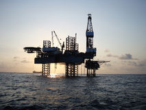 Silhouette Of Offshore Jack Up Rig