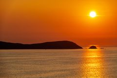 Silhouette Of Ons Island In Galicia, Spain Stock Images
