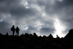 Silhouette Of People Himalayas Mountain Tibet Sky And Clouds Royalty Free Stock Image