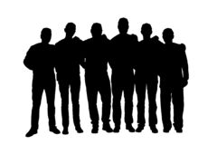 Free Silhouette Of Six Unrecognizable Men In Uniform Isolated On White Royalty Free Stock Photos - 205912068
