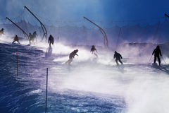 Free Silhouette Of Skier On Mountain Track Over Sun Stock Images - 67538474