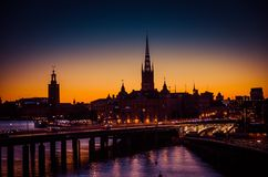 Free Silhouette Of Stockholm Cityscape Skyline With Riddarholmen Church Spires, City Hall Stadshuset Tower, Bridge Over Lake Malaren In Royalty Free Stock Photography - 131687517