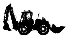 Free Silhouette Of The Big Tractor. Royalty Free Stock Photos - 97657708