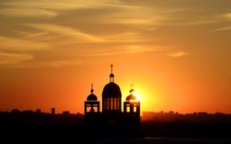 Free Silhouette Of The Church Building At Sunset Royalty Free Stock Photography - 160833907