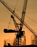 Silhouette Of The Tower Crane Royalty Free Stock Photos