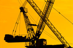 Silhouette Of The Tower Crane Stock Photos