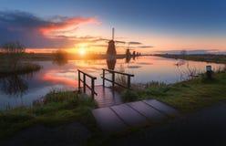 Free Silhouette Of Windmills At Sunrise In Kinderdijk, Netherlands Stock Photos - 86682973