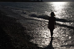 Silhouette Of Woman On Beach Royalty Free Stock Photography