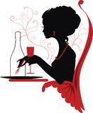 Silhouette Of Woman Relaxing In Restaurant Royalty Free Stock Photos
