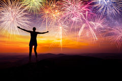 Silhouette Of Woman Staying And Watching The Fireworks Royalty Free Stock Images