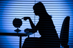 Silhouette Of Woman With Globe (office + Blind) Stock Images