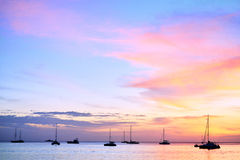 Silhouette Of Yacht Stock Images