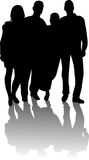 Silhouette Of Young People Royalty Free Stock Image