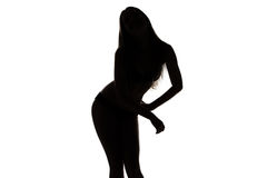 Silhouette ofdancing girl with hands on hip Royalty Free Stock Photos