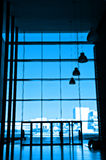 Silhouette at office building. The silhouette at office building in blue tone Royalty Free Stock Photos
