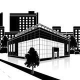 Silhouette office building with an entrance and reflection Royalty Free Stock Image