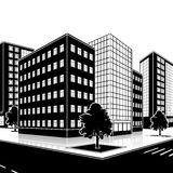 Silhouette office building with an entrance and reflection Stock Images