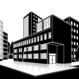Silhouette office building with an entrance and reflection Royalty Free Stock Photos