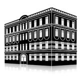 Silhouette office building with an entrance and reflection Royalty Free Stock Images