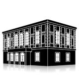 Silhouette office building with an entrance and reflection Stock Photography