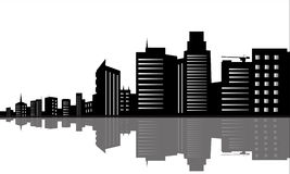 Silhouette of office buildings Royalty Free Stock Photos