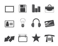 Silhouette Office and business icons Royalty Free Stock Image