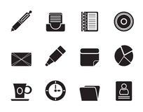 Silhouette Office & Business Icons Royalty Free Stock Photo