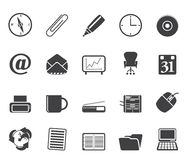Silhouette Office tools icons Royalty Free Stock Image