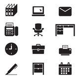 Silhouette office tools and stationery icons set Stock Photos