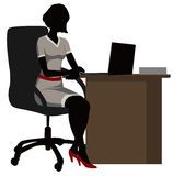 Silhouette office woman  with a laptop Royalty Free Stock Photography