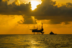 Silhouette,Offshore Jack Up Rig royalty free stock photo
