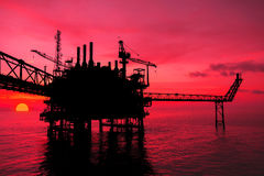 Silhouette,Offshore oil and rig platform Royalty Free Stock Image
