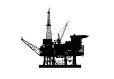 Silhouette of an oil derrick. Royalty Free Stock Image