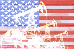 Silhouette of oil drilling pump on background of united states flag. Silhouette of oil drilling pump on background of united states flag royalty free illustration