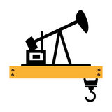 Silhouette oil extraction machine with platform and crane Royalty Free Stock Photography