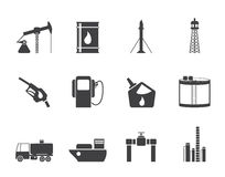 Silhouette Oil and petrol industry icons Stock Images