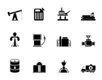 Silhouette Oil and petrol industry icons Stock Photo