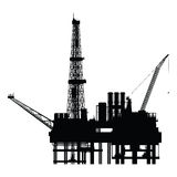 Silhouette of oil platform,. Illustration