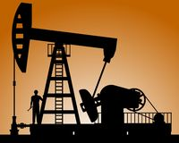 Silhouette of oil pump Royalty Free Stock Photography